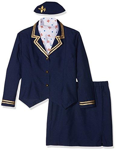 Smiffy's 43878X1 - Airways-Begleiterin Kostüm mit Jacke Rock Schal und Mütze, (Rock Kostüm Blau Ideen)