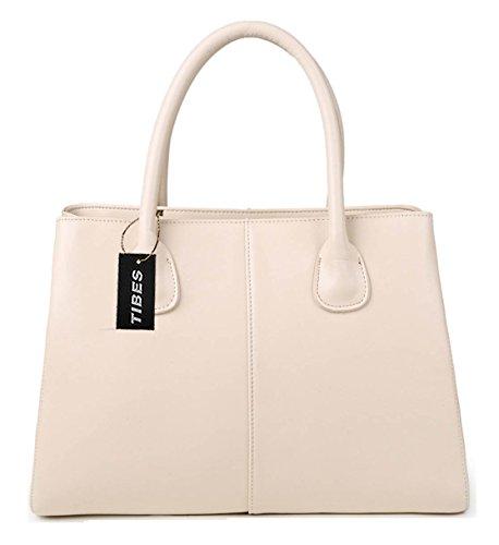 Tibes Ledertop Handtasche Handtasche Schulranzen Geldbeutel -Einkaufstasche Beige