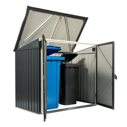 Tepro Mülltonnenbox, anthrazit / weiß, 154.2 x 96 x 130.5 cm - 3