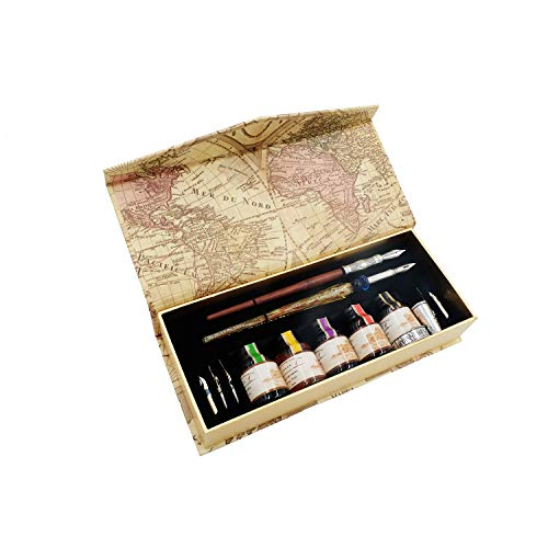 Kalligraphie-Stift Set,schreibfeder Holzstift und Glasstift mit 5 extra Federn und Tinte in Geschenkbox für Anfänger GC-LL19