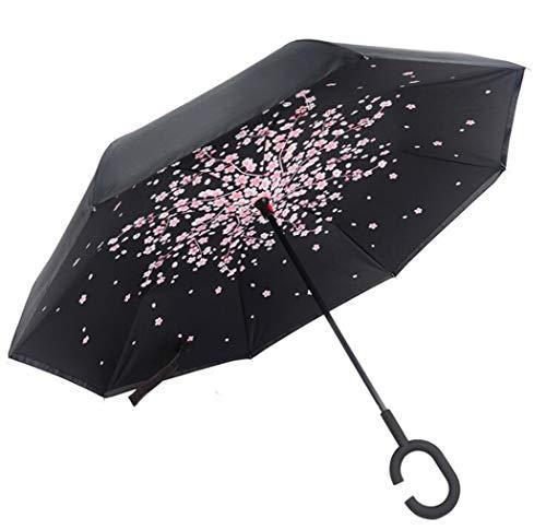 Love Life Familien-Regenschirm, Wind Und Regen, Selbsttragend Umgedrehtes Regen Sicheres Auto Auf Dem Kopf, Mit C-Förmigen Griff-Zeitung,Cherrycolor