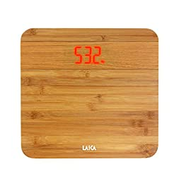 Laica Bilancia PS1067 Pesapersone Elettronica, 150 kg, Pedana in Legno di Bamboo, Led