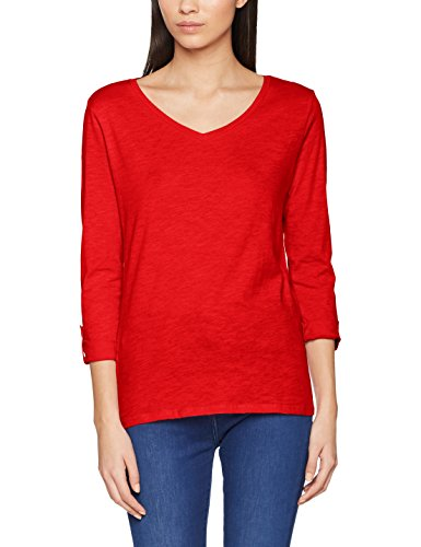 ONLY Damen Langarmshirt onlBONE FOLD-UP V-Neck 3/4 TOP, Rot (Flame Scarlet), 36 (Herstelle Preisvergleich