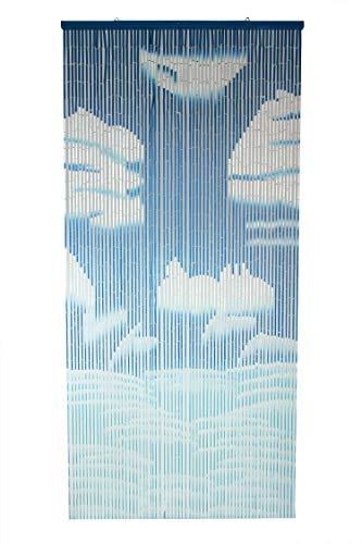 3-Pagen Bambusvorhang Ciel bleu 204 cm lang & 90 cm breit - Türvorhang für Terasse - Ideal für den Sommer
