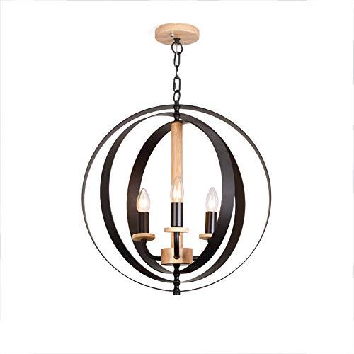 er Kronleuchter, E14 Kreativ Einfache Industrielle Eisen Holz Ring Pendelleuchten Für Restaurant Schlafzimmer Flur Lampen-Schwarz 48x69cm ()