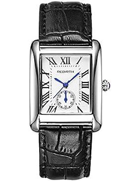 Frauen schwarz weißes Zifferblatt Uhren Art und Weise schwarzes Lederarmband klassische einzigartige Mode Damenuhr