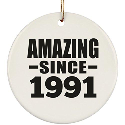 Designsify 28th Birthday Amazing Since 1991 - Circle Ornament Kreis Weihnachtsbaumschmuck aus Keramik Weihnachten - Geschenk zum Geburtstag Jahrestag Muttertag Vatertag Ostern