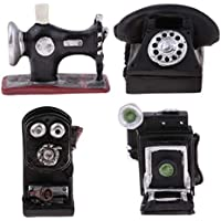 Homyl Modelo Miniatura de Cámara Retro + Máquina de Costura + Teléfono de Soporte de Pared