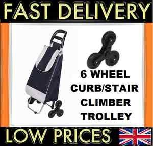H & S 6 Wheel Shopping Trolley Assorted