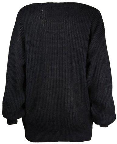 Purple Hanger Pull tricot Extra Large à manches longues Femme Haut en tricot pour homme Noir - Noir