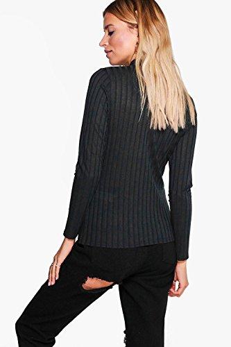 Femmes Noir Tamara T-shirt Côtelé Ras Du Cou À Ornement Métallique Noir