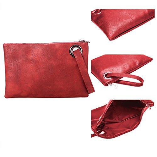 Pochette-All4you moda donna solida pochette borsa in pelle sintetica busta borsa frizione (rosso) Rosso