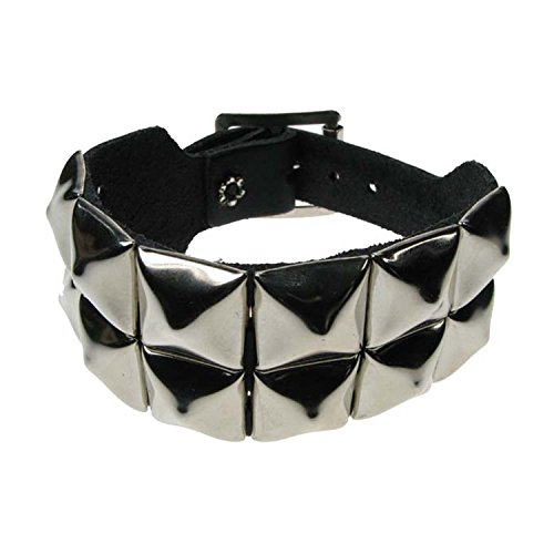 Nieten 2Zeile Armband Pyramide Leder Armband Emo Punk Gothic Steam Punk Viel