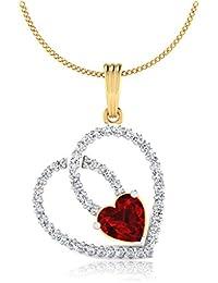 IskiUski  Yellow Gold, Diamond And Ruby Pendant For Women