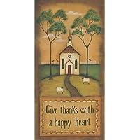 Rendete grazie con un cuore felice di Lewis, disponibile Kim–Stampa artistica su tela e carta, (Folk Primitive Decor)