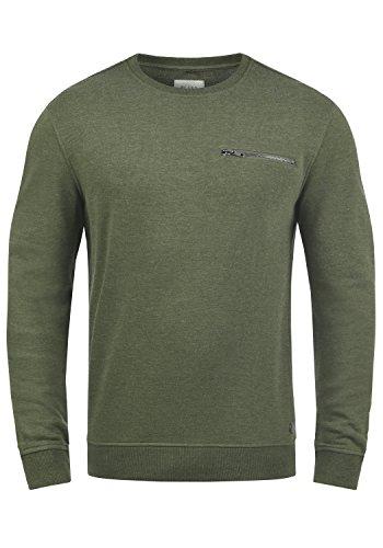 Blend Jesper Herren Sweatshirt Pullover Pulli Mit Rundhalsausschnitt Und Brusttasche, Größe:M, Farbe:Dusty Olive Green (77203)