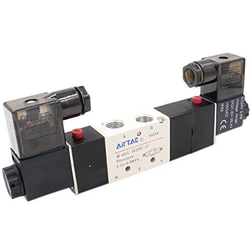 Heschen Elektro-pneumatisches Magnetventil 4V230-08C, 24V DC, 3W, PT1/4, 5Wege, 3Positionen -