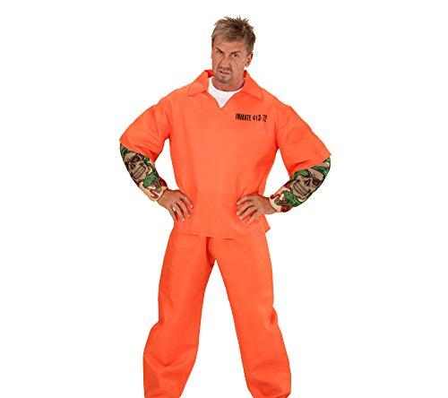Widmann 00642 - Erwachsenenkostüm tätowierter Gefangener, Oberteil mit Muskelarmen und Hose, (Gefängnis Outfit Halloween)