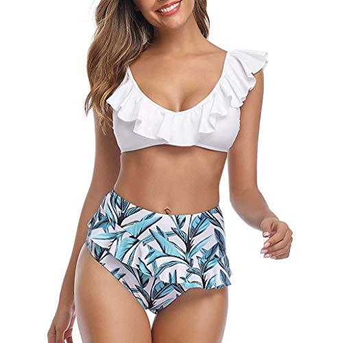 Kolila Bikini Damen Zweiteilige Badebekleidung Rüschen Volant Bottom Hohe Taille Blumendruck Shorts Vintage Badeanzüge Set