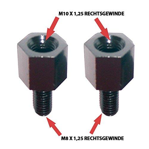 Preisvergleich Produktbild Motorrad Spiegeladapter Rechtsgewinde,  M10 auf M8 x 1,  25,  schwarz,  Paar / Paar