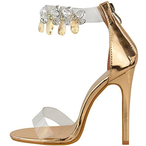 Sandales à talons aiguilles - brides en plexiglas transparent avec bijoux Rose doré métallisé/bride à bijoux