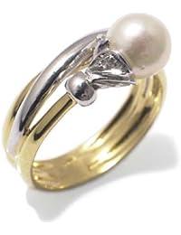 Perles Bague Femme en Or 18 carats Blanc/Jaune avec Perle de Culture et Diamant H/SI (total diamants 0.02 ct)