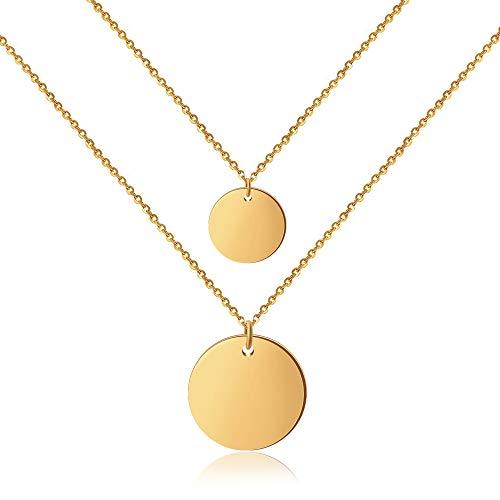® Double Coinkette für Damen (45 cm lang) Zweireihige Kette Gold goldene goldfarben Halskette goldenekette kettegold Damenhalskette Frauen Mädchen Frauenkette Woman Frauenhalskette