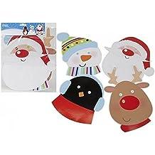 Pack de 4Festive Character para niños Máscaras–Máscara (Papá Noel, pingüino, muñeco de nieve & reno)