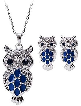 NEOGLORY Swarovski Elements Ohrstecker Halskette Eule Blau Niedlich