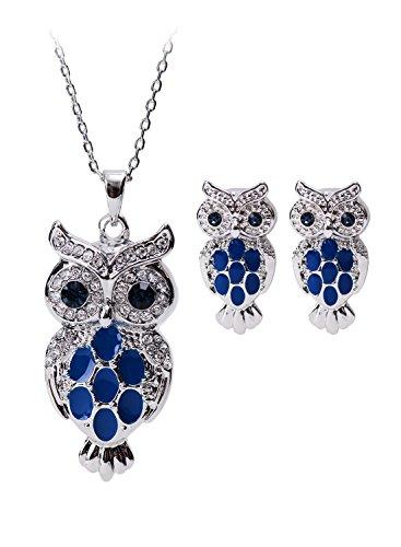 NEOGLORY Swarovski Elements Ohrstecker Halskette Eule Blau Niedlich - Für Jugendliche Und Halloween-kostüme Einfache Niedliche