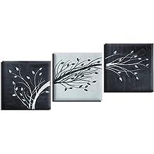 Raybre Art® 3pcs/set Quadri Moderni Astratti 100% Dipinta a Mano Olio su Tela Fiori Albero di Speranza Foglie Naturali Grandi per Decorazione della Arte Parete Casa, Senza Telaio