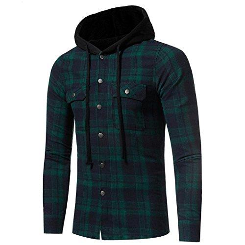 ASHOP Abbigliamento Uomo, Camicia Uomo Cappuccio, Camicetta da Uomo a Manica Lunga Scozzese a Maniche Lunghe Autunno Inverno Verde