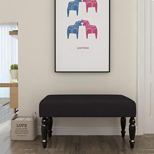 YCSD PU-Leder Osmanische Fußbank Schuh Hocker Gepolsterter Sitz-Fußstütze-Stuhl (Farbe : Schwarz, größe : 60cm) -