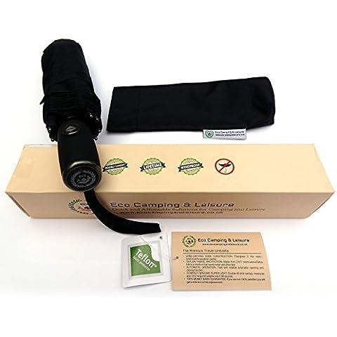 Eco Camping & Leisure viaje paraguas automático - Fibra de vidrio reforzada 9-rib tecnología, garantía de por vida, resistente al viento tela con teflón, portátil, compacto, mini paraguas, Super luz, elegante negro Diseño para las