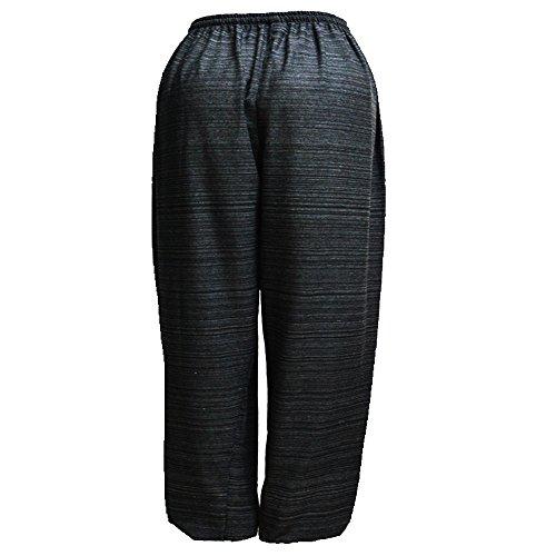 Mr.Bangkok Women Stripes Cotone Casual da jogging Pantaloni pigiama Yoga Elastico in vita con coulisse Black