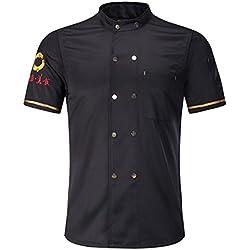 Freahap Chaqueta Chef Camisa de Cocinero Manga Corta de Verano Negro L