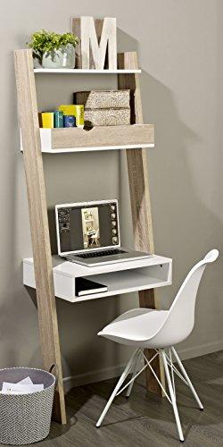 SoBuy-FRG111-WN-tagre-de-Rangement-Bibliothque-avec-bureau-cubique-et-2-tagres-L65xP40xH179cm