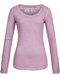 Urban Surface Damen Longsleeve mit Spitzeneinsätzen | Elegantes Langarmshirt im Vintage Look | Spitzenshirt mit Rundhals-Ausschnitt