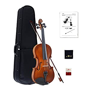 Aileen Student Violin Beginners Starter Handcrafted Vintage Finish with Hard Case, Bow, Rosin, and Polishing Cloth