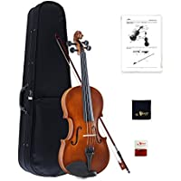 Aileen Violin 4/4 Full Size for Beginners Handmade Vintage Outfit with Hard Case, Bow, Rosin, Bridge, and Polishing Cloth