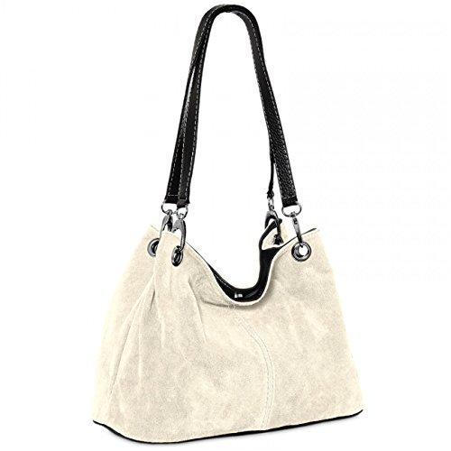 Caspar TL621 klassische Damen Wildleder Handtasche, Farbe:hell beige
