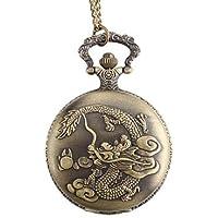 Drago uomo lega analogico al quarzo orologio da tasca (bronzo) ( Colore : Bronze , Taglia : Taglia unica ) - Drago Quarzo Orologio