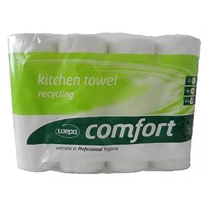 WEPA Comfort Küchenrollen, 3-lagig, hochweiß, 8×4 Rollen = 32 Rollen im Folienpaket