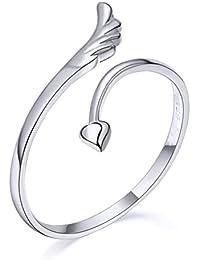 Delicadas ZLYC para mujer de plata de ley ala ángulo de corazón anillo de corazones regalo abierto tunantería