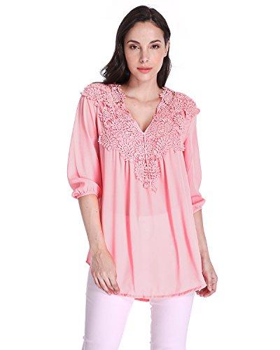 ZANZEA Damen Chiffon Langarm Spitze V-Ausscnitt Lose Hemd Bluse Langshirt T-Shirt Pink