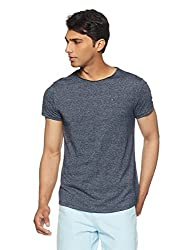 Tommy Hilfiger Mens Plain Regular Fit T-Shirt (P8ATK347_Black Iris_Large)