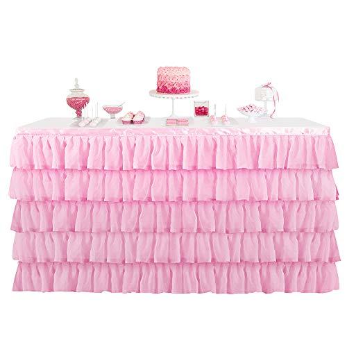 BEST OF BEST 3 Tüll rosa Tischrock Anti-Falten-Futter & Chiffon Tisch Sockelleiste für Bühne Leistung Thema Anime Party Baby Dusche Hochzeit Geburtstag Dekor (6ft)