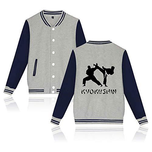 ACBANANA Baseballuniform Jacke Karate Kid Kontrastfarbe Top, Kyokushin Bedruckten Mantel, Unisex Einreiher Frühling Und Herbst Mantel