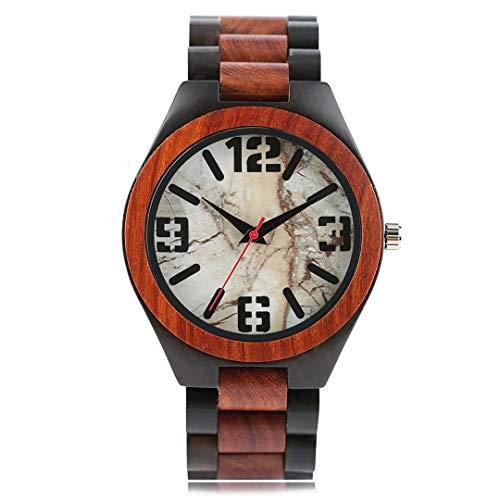 Herrenuhren Holz Uhr MäNnlichen Marmor Stein Rock Muster Sport Mode Handgemachte Bambusband Quarz Armbanduhren Hombre