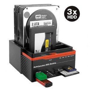 Estación carga triple 3discos duros 3,5y 2,5